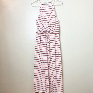 ZARA | Red & White Striped Dress Knotted Waist